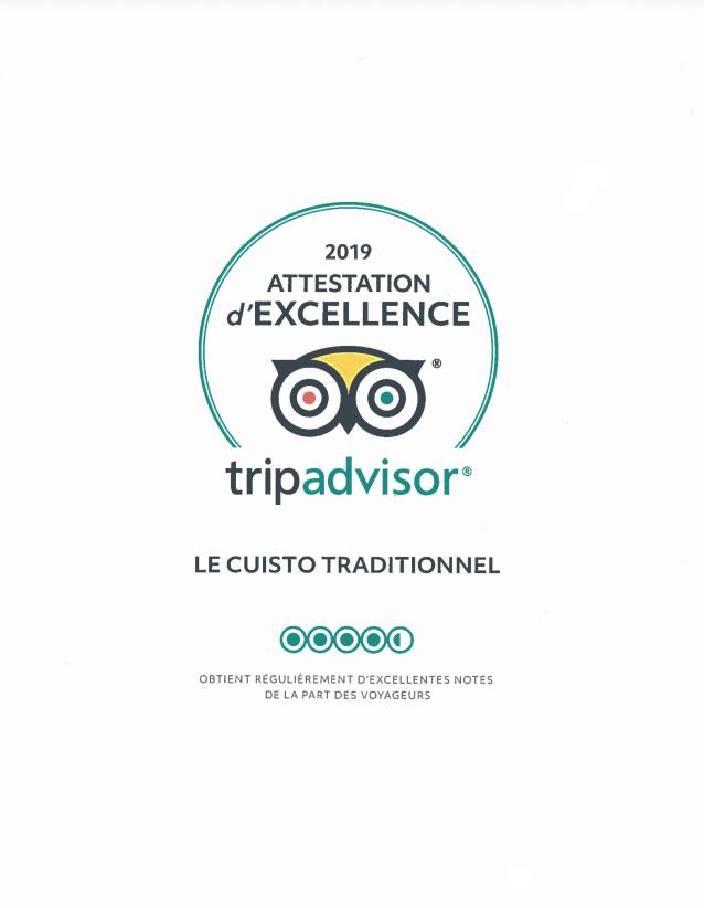 Attestation d'excellence 2019 - Le Cuistot Traditionnel